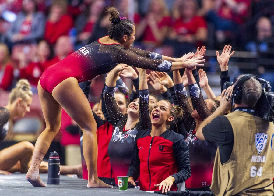 University of Utah womens gymnastics freshman Hunter Dula performs on the vault in the PAC 12 conference championship at the Maverik Center in Salt Lake City, Utah on Saturday, March 23, 2019.  (Photo by Kiffer Creveling | The Daily Utah Chronicle)