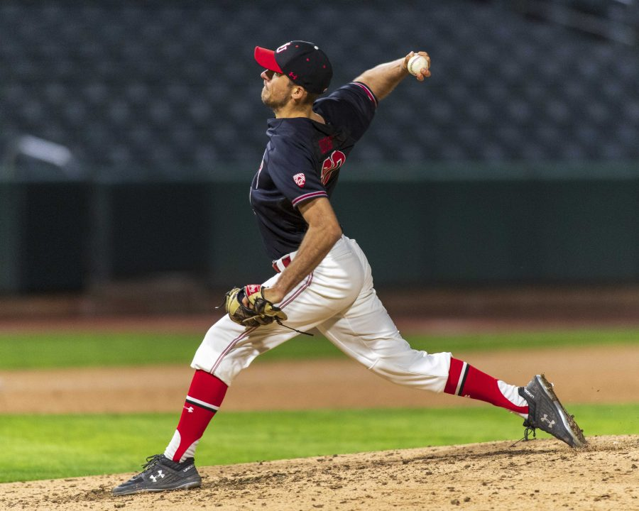 University of Utah senior right-handed pitcher Austin Moore (30) pitches during an NCAA Baseball game at the Smiths Ballpark in Salt Lake City, Utah on Thursday, April 11, 2019. (Photo by Kiffer Creveling | The Daily Utah Chronicle)