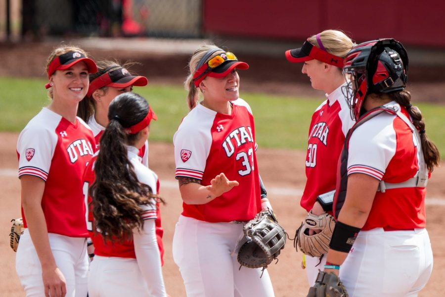 The+University+of+Utah+Softball+infielders+huddle+up+prior+to+the+start+of+the+game+in+an+NCAA+Softball+game+vs.+Arizona+at+Dumke+Family+Softball+Field+in+Salt+Lake+City%2C+UT+on+Saturday+April+06%2C+2019.%0A%0A%28Photo+by+Curtis+Lin+%7C+Daily+Utah+Chronicle%29