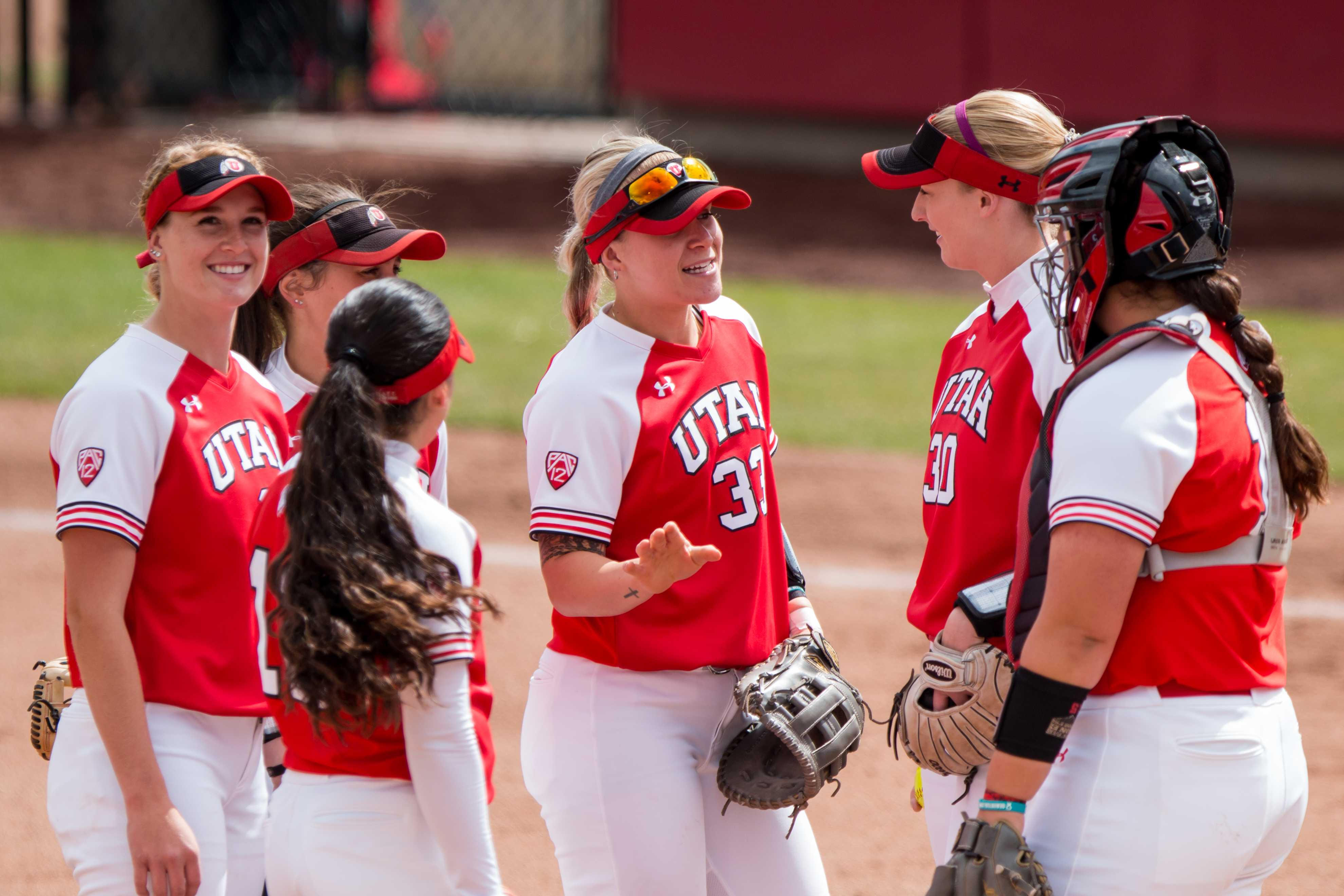 The University of Utah Softball infielders huddle up prior to the start of the game in an NCAA Softball game vs. Arizona at Dumke Family Softball Field in Salt Lake City, UT on Saturday April 06, 2019.  (Photo by Curtis Lin | Daily Utah Chronicle)