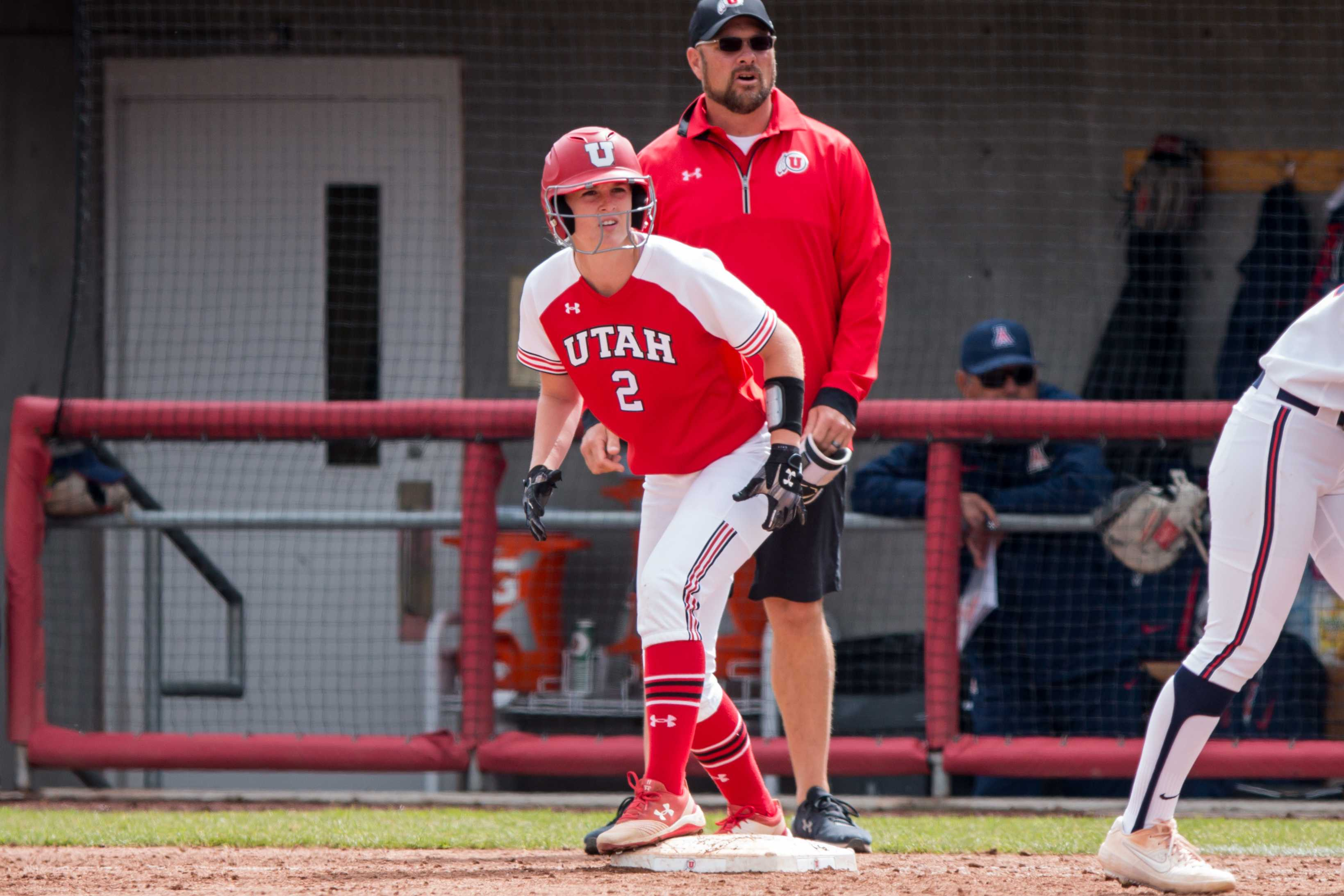 University of Utah freshman utility Ellessa Bonstrom (2) was ready to run in an NCAA Softball game vs. Arizona at Dumke Family Softball Field in Salt Lake City, UT on Saturday April 06, 2019.  (Photo by Curtis Lin | Daily Utah Chronicle)