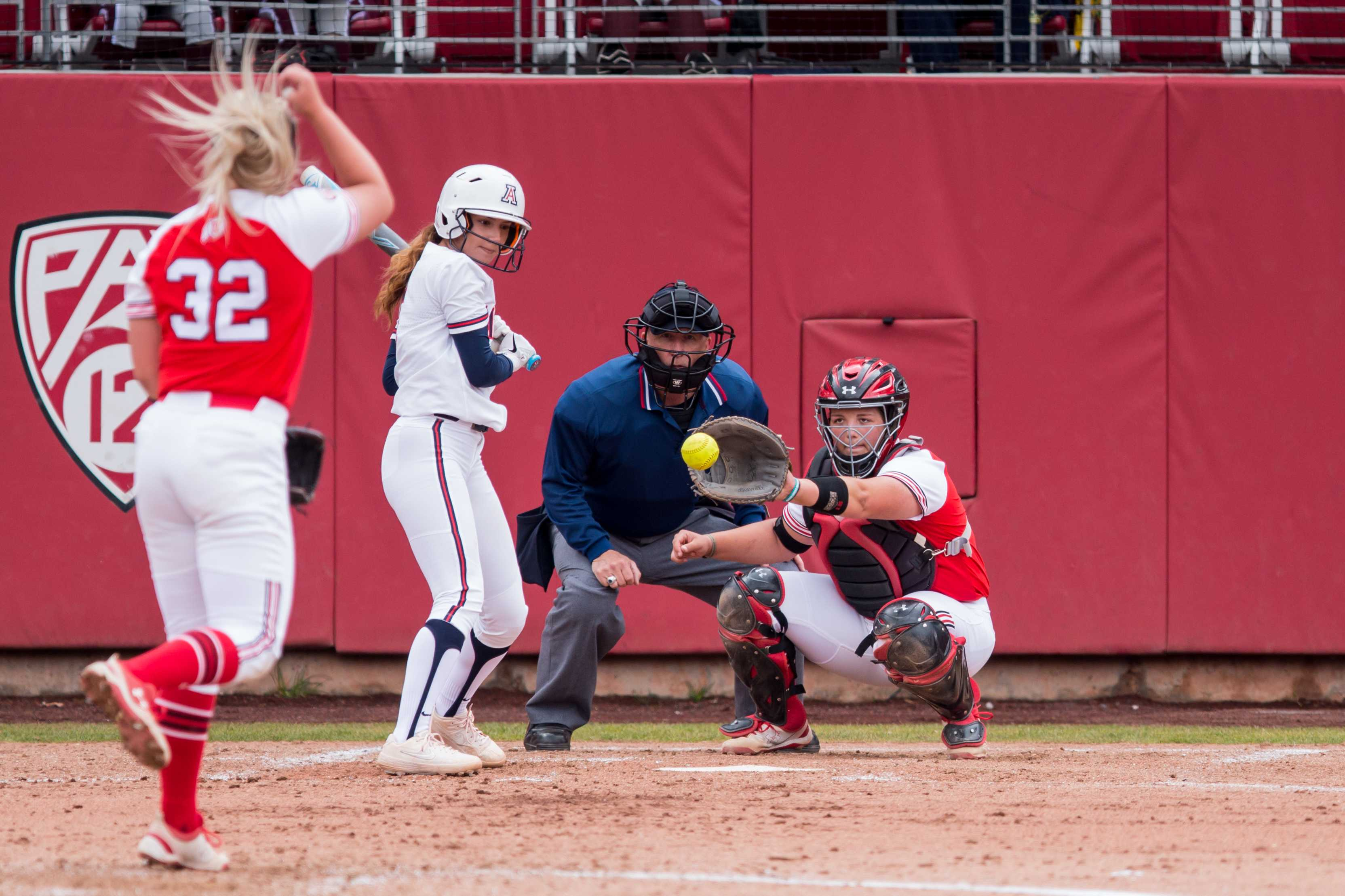 University of Utah sophomore catcher Katie Faulk (15) caught freshman utility Jess Lynch (32)'s pitch in an NCAA Softball game vs. Arizona at Dumke Family Softball Field in Salt Lake City, UT on Saturday April 06, 2019.  (Photo by Curtis Lin | Daily Utah Chronicle)