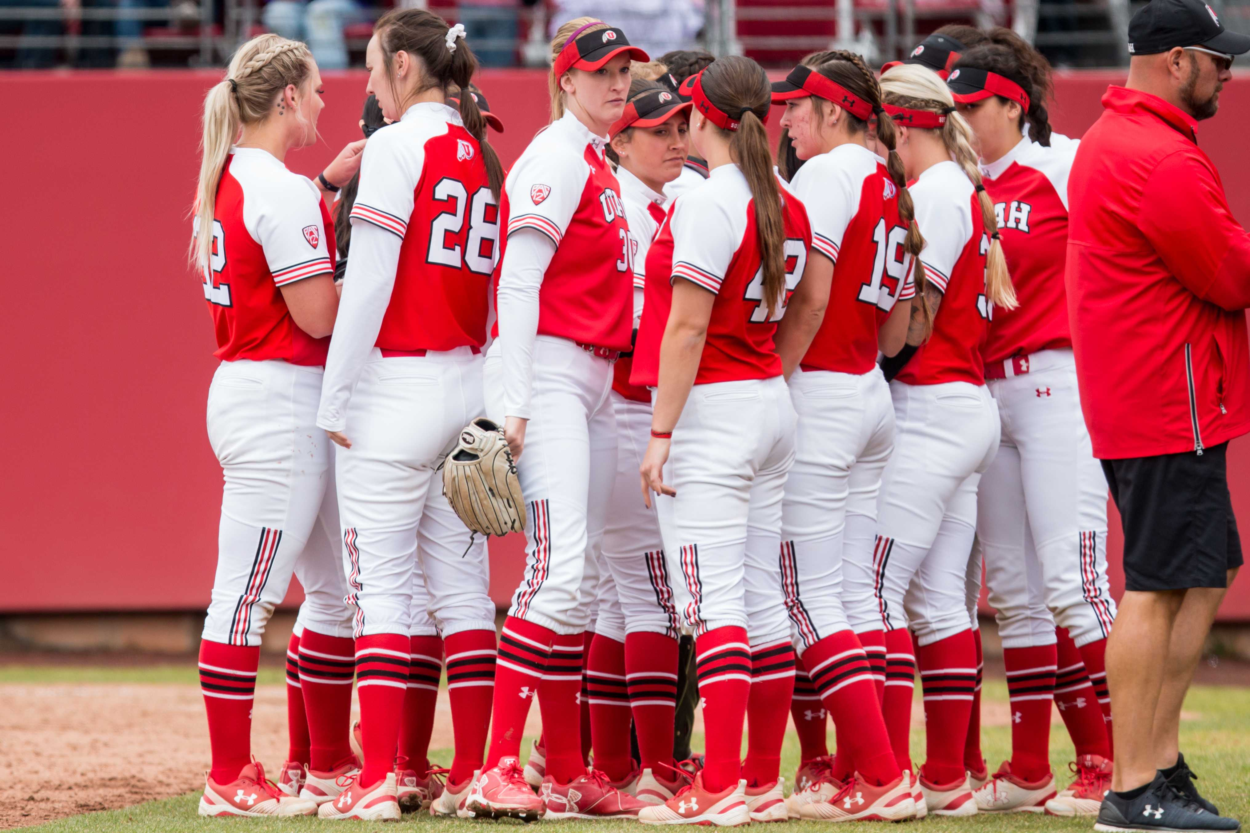 The University of Utah Softball Team huddled up in an NCAA Softball game vs. Arizona at Dumke Family Softball Field in Salt Lake City, UT on Saturday April 06, 2019.  (Photo by Curtis Lin | Daily Utah Chronicle)