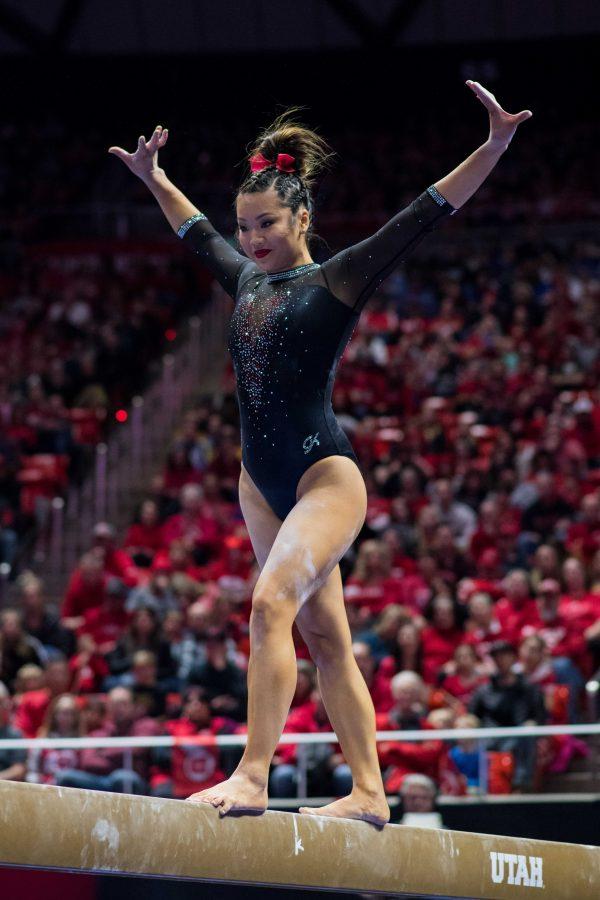 University of Utah senior Kari Lee performed her beam routine in an NCAA Women's Gymnastics meet vs. UCLA at Jon M. Huntsman Center in Salt Lake City, UT on Saturday February 23, 2019.  (Photo by Curtis Lin | Daily Utah Chronicle)