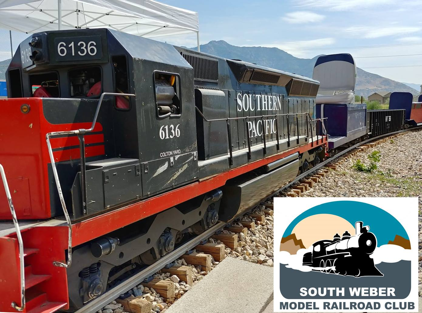 South Weber Railroad Club's leading engine, the Southern Pacific. Courtesy of the South Weber Railroad Club.