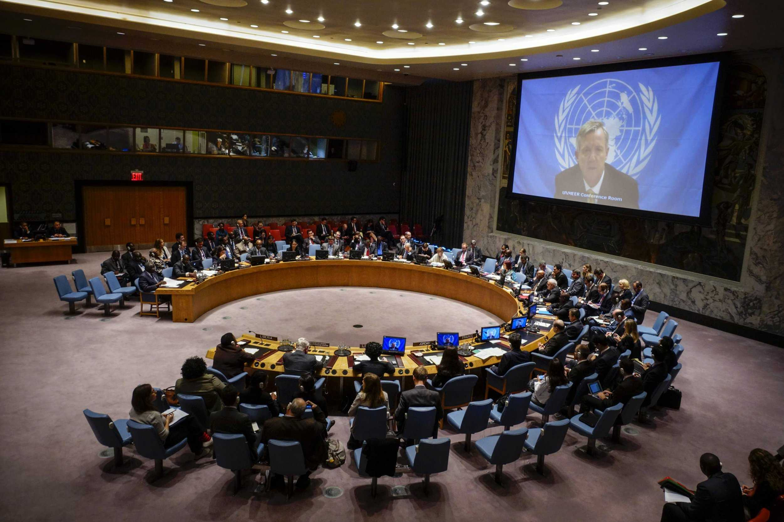 U.N. Ebola mission chief Anthony Banbury speaks to members of the United Nations Security Council. EDUARDO MUNOZ/REUTERS