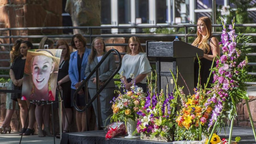 Kennedy speaks at the vigil. (Photo by Kiffer Creveling | The Daily Utah Chronicle)