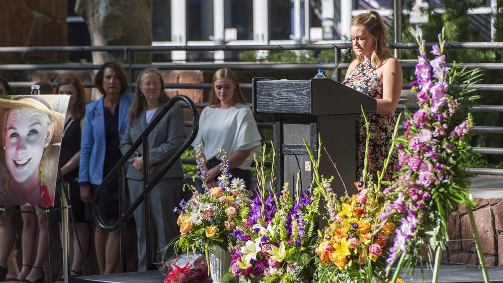 Katie, a sorority sister of Mackenzie Lueck, speaks at her vigil. (Photo by Kiffer Creveling | The Daily Utah Chronicle)