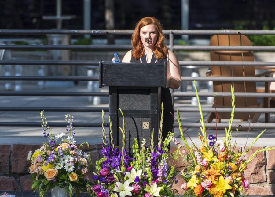 Ashley speaks at the vigil. (Photo by Kiffer Creveling | The Daily Utah Chronicle)