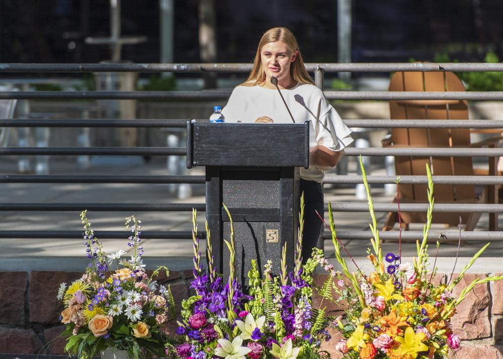 ASUU President Anna Barnes speaks to students, staff, and friends for a vigil in remembrance of MacKenzie Lueck at the University of Utah Student Union lawn in Salt Lake City, UT on Monday, July 1, 2019. Chronicle archives.