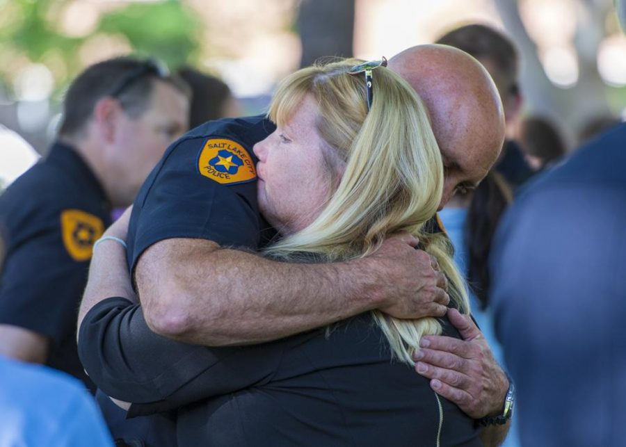 Salt Lake Police Chief, Mike Brown, embraces an attendant at the vigil.(Photo by Kiffer Creveling | The Daily Utah Chronicle)