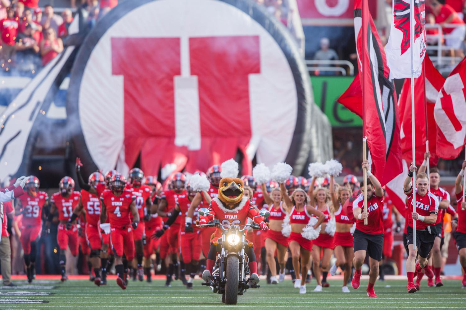The University of Utah football team marched onto the field during the NCAA football game vs. Weber State at Rice-Eccles Stadium in Salt Lake City, UT on Thursday August 30, 2018(Photo by Curtis Lin | The Daily Utah Chronicle)