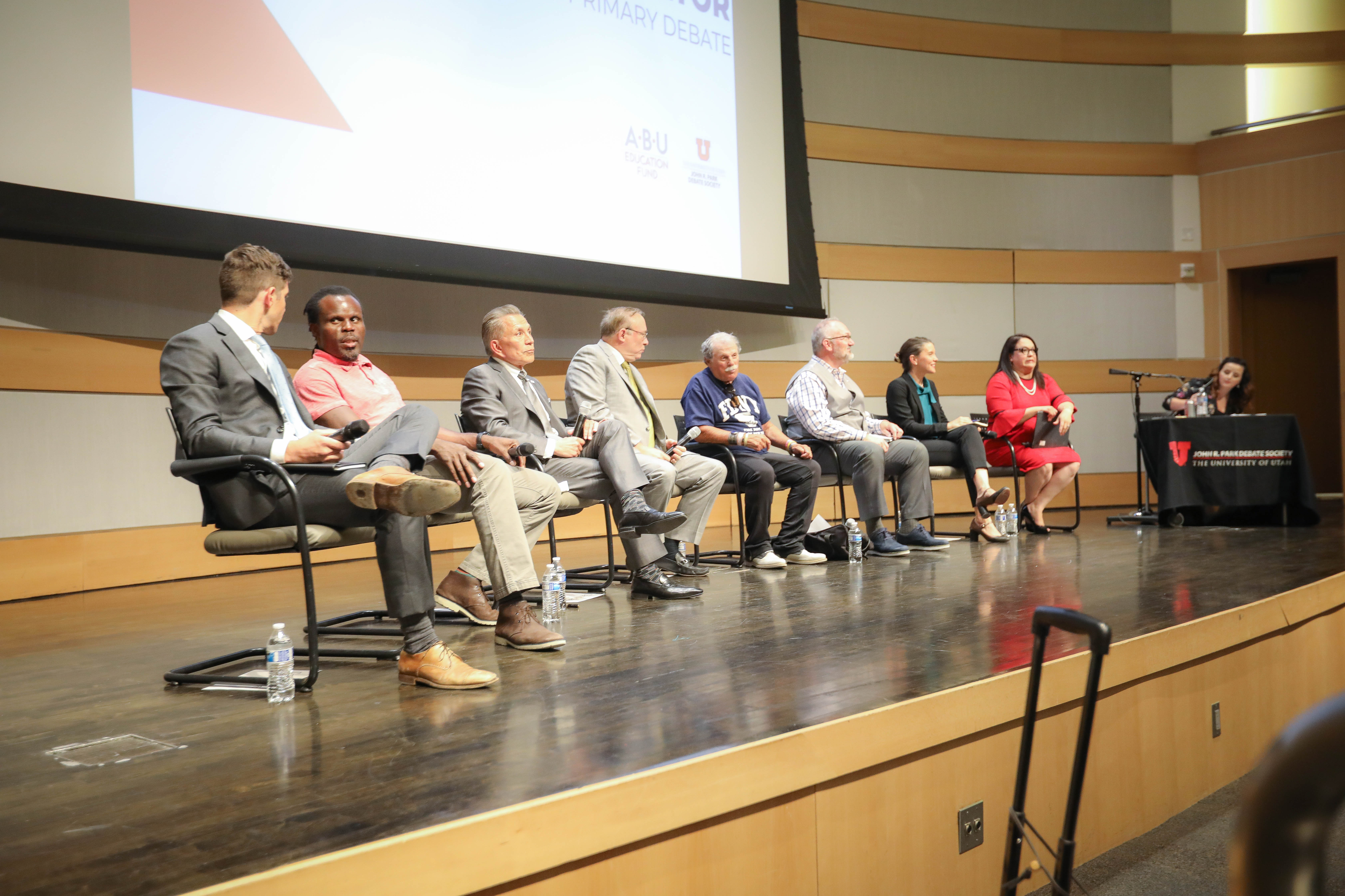 The Primary Debate for Mayoral Candidates in Salt Lake City, Utah on Wednesday, June 26th. (Photo by Cassandra Palor | Daily Utah Chronicle)