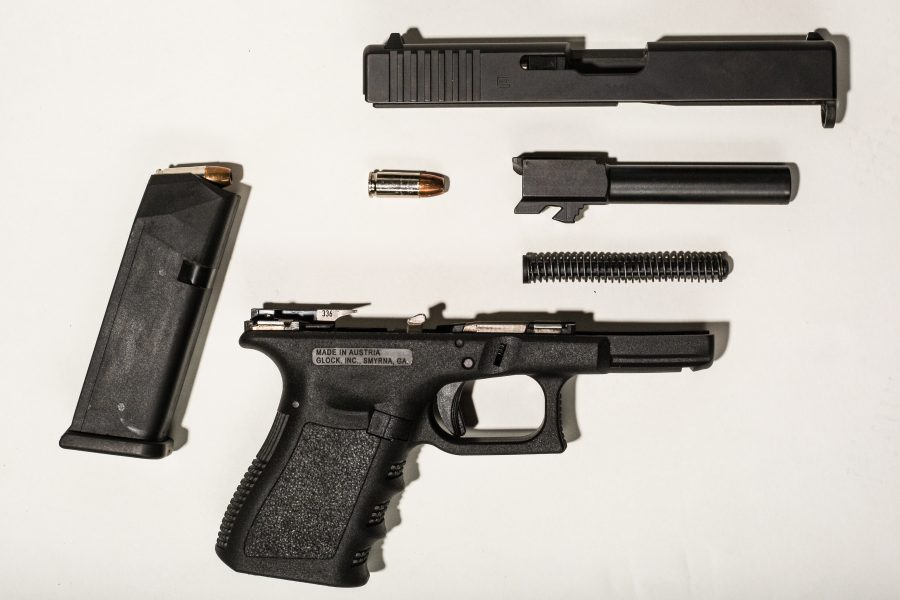 A broken down Glock 19. (Photo by: Justin Prather | Daily Utah Chronicle).
