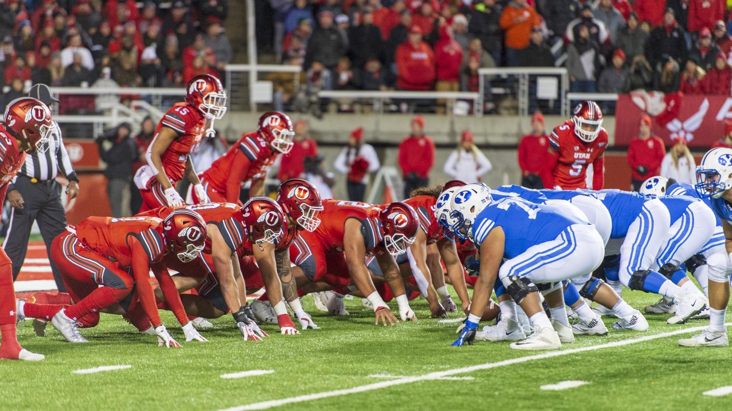 University of Utah offense lines up against Brigham Young University during an NCAA Football game at Rice Eccles Stadium in Salt Lake City, Utah on Saturday, Nov. 24, 2018. (Photo by Kiffer Creveling | The Daily Utah Chronicle)