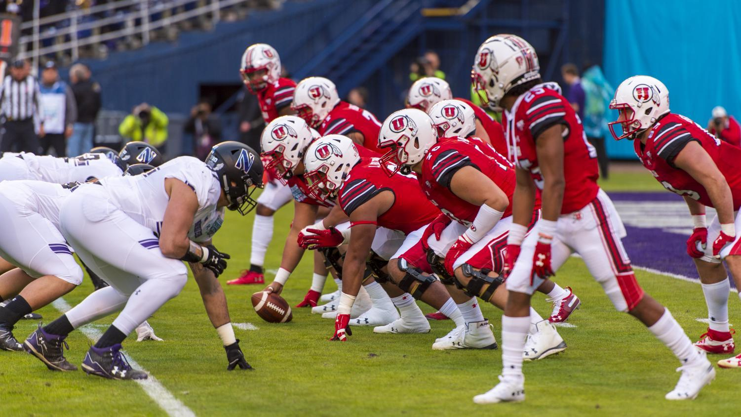 The University of Utah snaps the ball during the San Diego County Credit Union Holiday Bowl vs. Northwestern University at SDCCU Stadium in San Diego, California on Monday, Dec. 31, 2018. (Photo by Kiffer Creveling | The Daily Utah Chronicle)