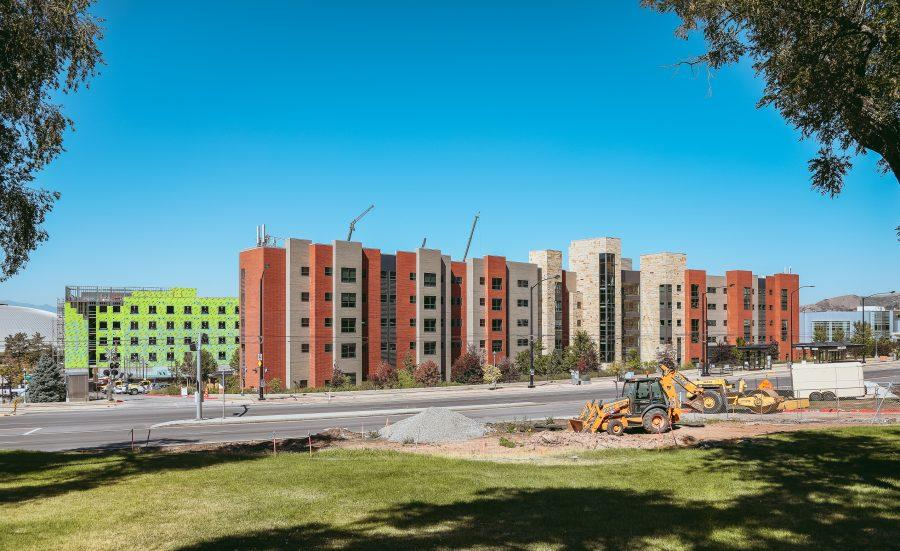 The Marriott Honors Community with the South Campus Housing & Dining project construction behind it (Photo by Delaney Manson | The Daily Utah Chronicle)
