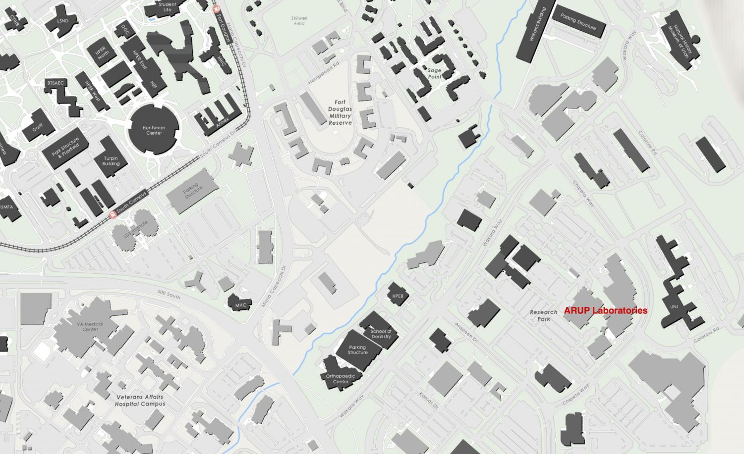 Location of ARUP Laboratories on Campus Map
