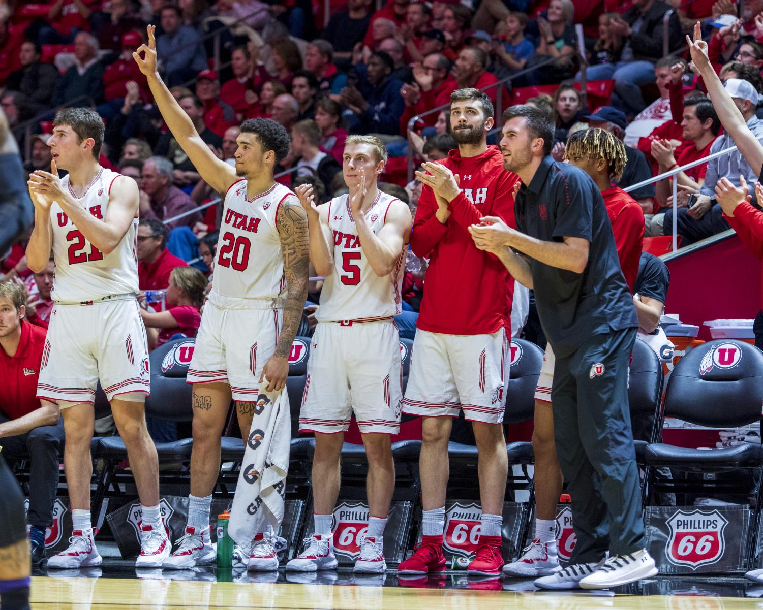 The University of Utah cheer after a three point shot during an NCAA Basketball game vs. The University of Washington at the Jon M. Huntsman Center in Salt Lake City, Utah on Thursday, Jan. 10, 2019. (Photo by Kiffer Creveling   The Daily Utah Chronicle)