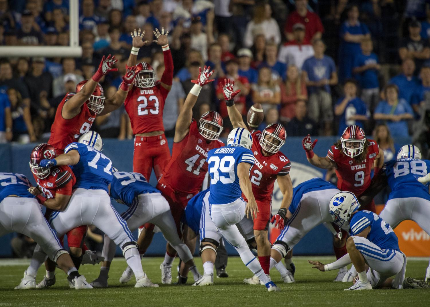 Brigham Young University freshman linebacker Jake Oldroyd (39) kicks a field goal during an NCAA Football game vs. The University of Utah at LaVell Edwards Stadium in Provo, Utah on Thursday, Aug. 29, 2019. (Photo by Kiffer Creveling | The Daily Utah Chronicle)