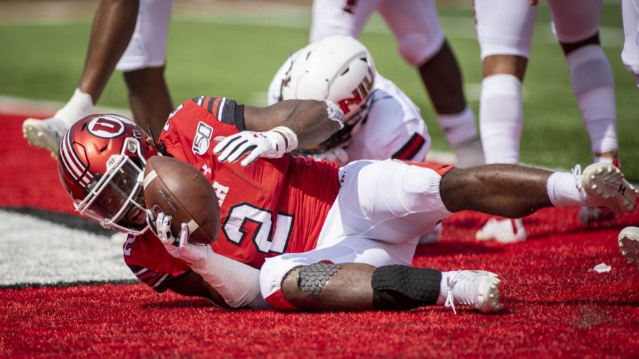University of Utah senior running back Zack Moss (2) scores a touchdown during an NCAA Football game vs. The Northern Illinois Huskies at Rice Eccles Stadium in Salt Lake City, Utah on Saturday, Sept. 7, 2019. (Photo by Kiffer Creveling | The Daily Utah Chronicle)