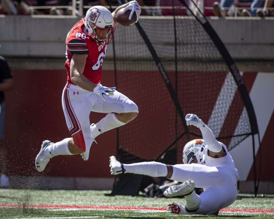 University+of+Utah+sophomore+tight+end+Brant+Kuithe+%2880%29+leaps+over+Idaho+State+Bengals+defense+for+a+touchdown+during+an+NCAA+Football+game+at+Rice+Eccles+Stadium+in+Salt+Lake+City%2C+Utah+on+Saturday%2C+Sept.+14%2C+2019.+%28Photo+by+Kiffer+Creveling+%7C+The+Daily+Utah+Chronicle%29