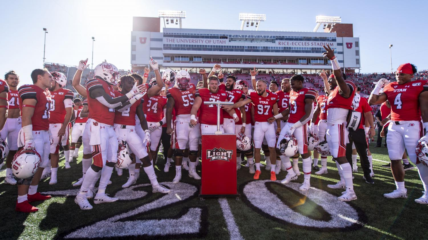 The University of Utah sings the Utah fight song following an NCAA Football game vs. The Idaho State Bengals at Rice Eccles Stadium in Salt Lake City, Utah on Saturday, Sept. 14, 2019. (Photo by Kiffer Creveling | The Daily Utah Chronicle)