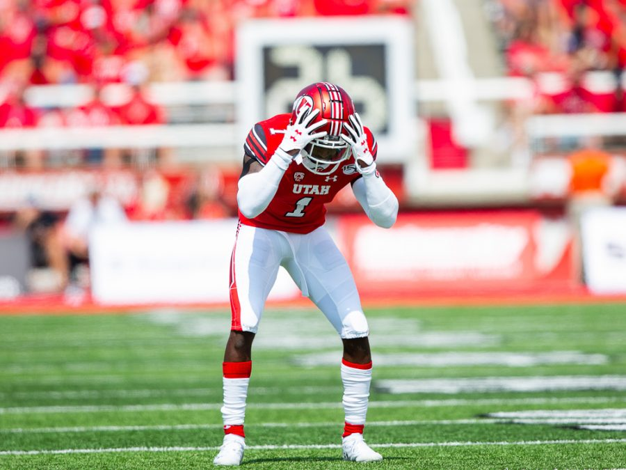 University of Utah junior defensive back Jaylon Johnson (1) reacts to the previous play where he almost intercepted a pass from Northern Illinois University senior QB Ross Bowers (12) in an NCAA Football game vs. Northern Illinois University at Rice-Eccles Stadium in Salt Lake City, UT on Saturday September 07, 2019.  (Photo by Curtis Lin | Daily Utah Chronicle)