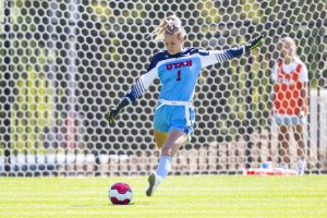 University of Utah senior goalkeeper Carly Nelson (1) passes the ball in an NCAA Women's Soccer game vs. San Diego University at Ute Field in Salt Lake City, UT on Sunday September 22, 2019.  (Photo by Curtis Lin | Daily Utah Chronicle)