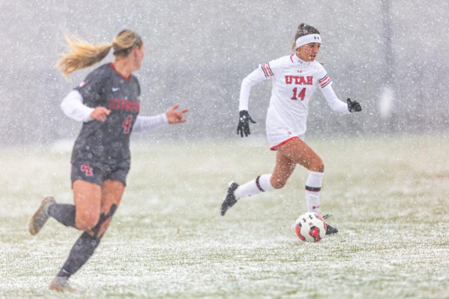University+of+Utah+Utes+Women%27s+soccer+team+midfielder+Courtney+Talbot+%2814%29+dribbles+past+during+an+NCAA+soccer+match+vs.+the+Stanford+Cardinal+women%27s+soccer+team+at+the+Ute+Soccer+Field+in+Salt+Lake+City%2C+Utah+on+Sunday%2C+Oct.+27%2C+2019+%28Photo+by+Abu+Asib+%7C+The+Daily+Utah+Chronicle%29
