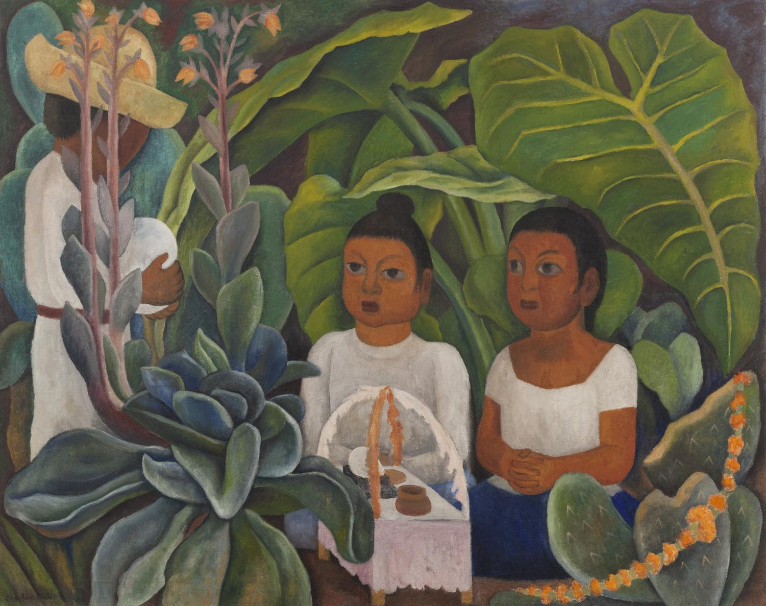 Diego Rivera (Mexican, 1886–1957), La ofrenda, 1931, oil on canvas, 48 ¾ x 60 ½ in., Art Bridges. ©2019 Banco de México Diego Rivera Frida Kahlo Museums Trust, Mexico, D.F. / Artists Rights Society (ARS), New York. Photo: 2017 Christie's Images Limited.