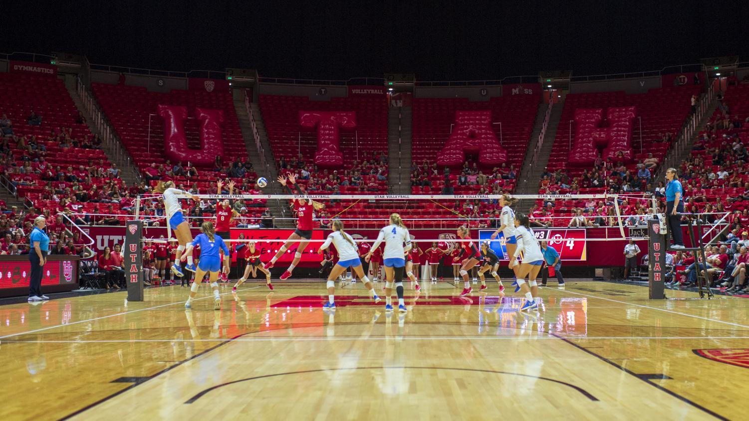 The University of Utah defends a spike in an NCAA Volleyball match vs. the UCLA Bruins at the Jon M. Huntsman Center in Salt Lake City, Utah on Friday, Sept. 21, 2018. (Photo by Kiffer Creveling | The Daily Utah Chronicle)