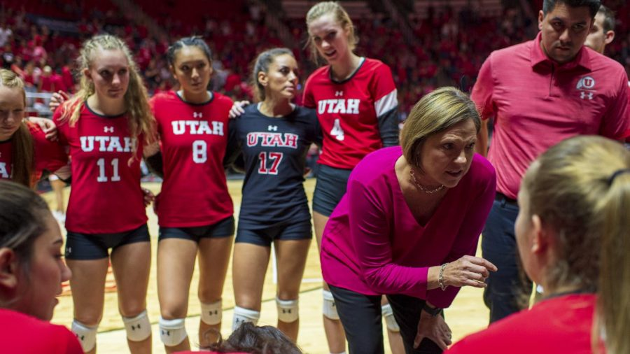 University of Utah head coach Beth Launiere talks with the Utes during a timeout in an NCAA Volleyball match vs. the UCLA Bruins at the Jon M. Huntsman Center in Salt Lake City, Utah on Friday, Sept. 21, 2018. (Photo by Kiffer Creveling | The Daily Utah Chronicle)