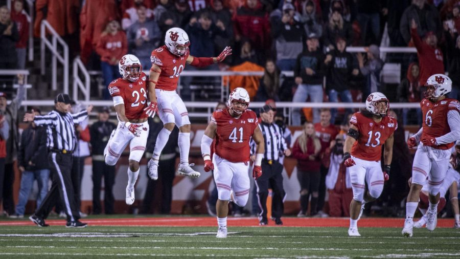 University of Utah senior defensive back Julian Blackmon (23) celebrates with R.J. Hubert (10) after stopping Washington State on their fourth down during an NCAA Football game at Rice Eccles Stadium in Salt Lake City, Utah on Saturday, Sept. 28, 2019. (Photo by Kiffer Creveling | The Daily Utah Chronicle)