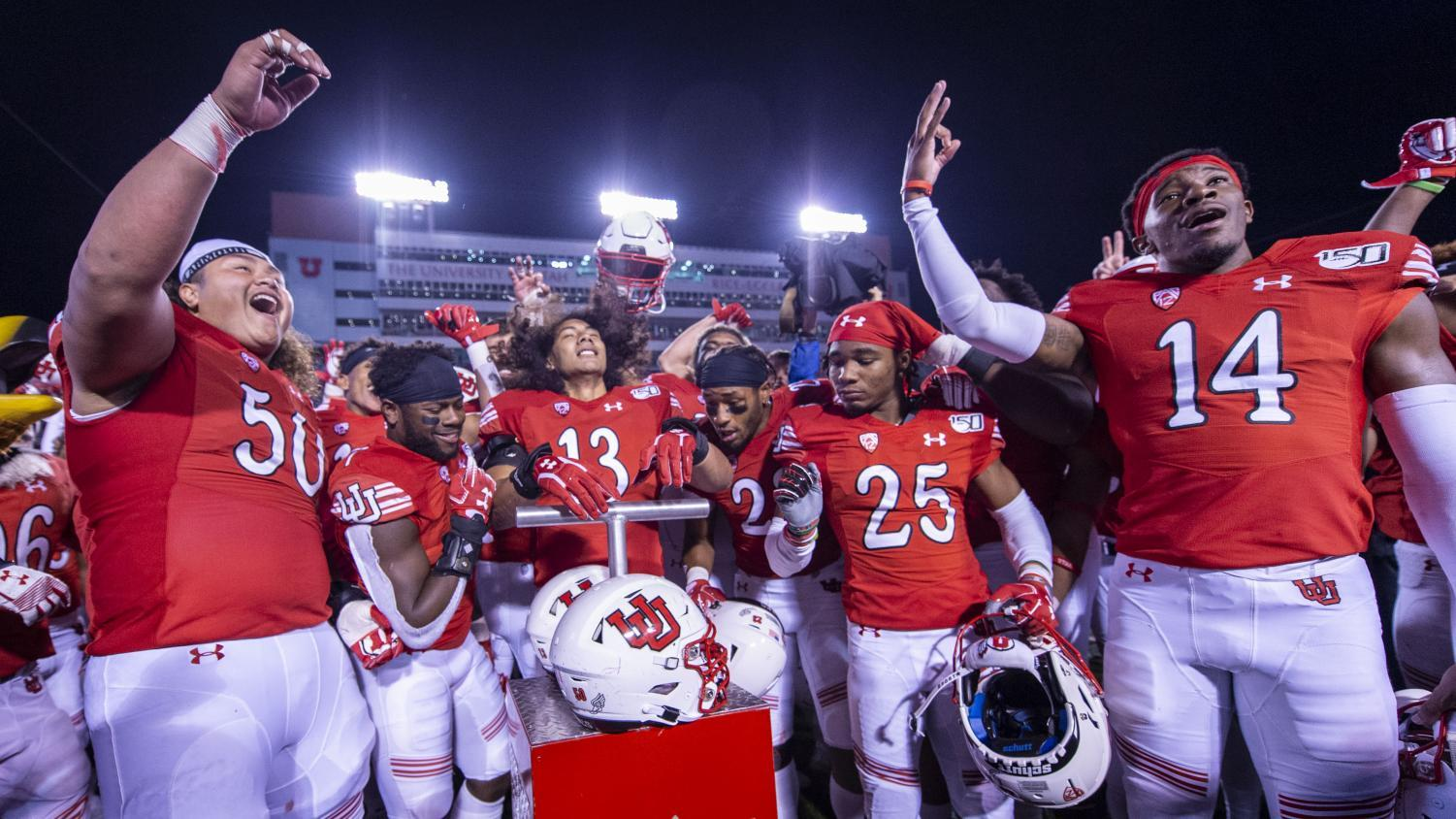The University of Utah football team sings the Utah fight song following an NCAA Football game vs. Washington State at Rice Eccles Stadium in Salt Lake City, Utah on Saturday, Sept. 28, 2019. (Photo by Kiffer Creveling | The Daily Utah Chronicle)
