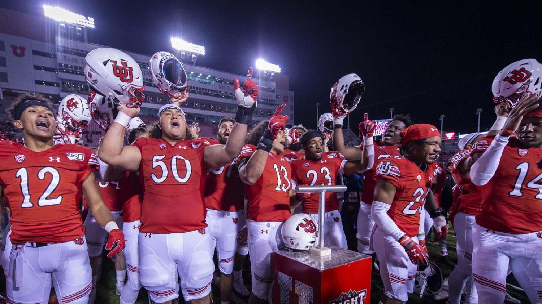The University of Utah football team sings the Utah fight song following an NCAA Football game vs. Washington State at Rice Eccles Stadium in Salt Lake City, Utah on Saturday, Sept. 28, 2019. (Photo by Kiffer Creveling   The Daily Utah Chronicle)