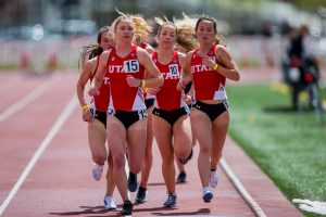 University of Utah freshman distance runner Sara Leonard (15), junior distance runner Jade Mulvey (10), and sophomore distance runner Ashley Licata (13) ran in the Women's 3000 meter run in an NCAA Track and Field meet at the McCarthey Family Track and Field Complex in Salt Lake City, UT on Saturday April 13, 2019.(Photo by Curtis Lin | The Daily Utah Chronicle)
