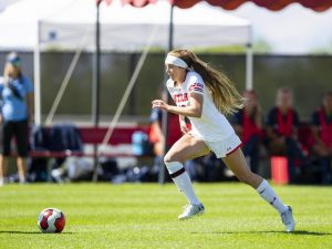 University of Utah freshman forward Kaitlyn Conley (16) dribbles the ball past University of San Diego defenders in an NCAA Women's Soccer game vs. San Diego University at Ute Field in Salt Lake City, UT on Sunday September 22, 2019.(Photo by Curtis Lin | Daily Utah Chronicle)