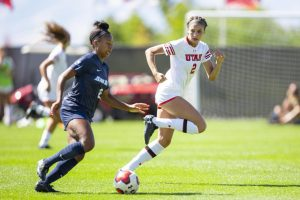 University of Utah senior defender Tavia Leachman (2) applies pressure on University of San Diego senior midfielder Milan Moses (8) in an NCAA Women's Soccer game vs. San Diego University at Ute Field in Salt Lake City, UT on Sunday September 22, 2019. (Photo by Curtis Lin | Daily Utah Chronicle)