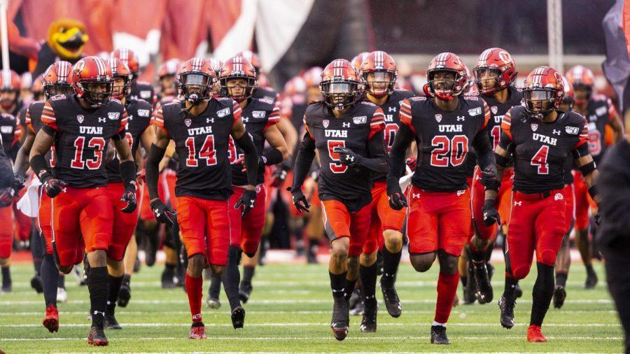 The+University+of+Utah+Football+team+charge+onto+the+field+in+an+NCAA+Football+game+vs.+Arizona+State+University+at+Rice-Eccles+Stadium+in+Salt+Lake+City%2C+UT+on+Saturday+October+19%2C+2019.%28Photo+by+Curtis+Lin+%7C+Daily+Utah+Chronicle%29%0A