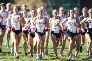 The University of Utah Cross Country Team during the Women's 5K run at the Utah Open in an NCAA Cross Country Meet at Sunnyside Park in Salt Lake City, UT on Friday October 25, 2019.(Photo by Curtis Lin | Daily Utah Chronicle)