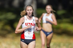 University of Utah freshman Grace Burnett (23) during the Women's 5K run at the Utah Open in an NCAA Cross Country Meet at Sunnyside Park in Salt Lake City, UT on Friday Oct. 25, 2019.(Photo by Curtis Lin | Daily Utah Chronicle)