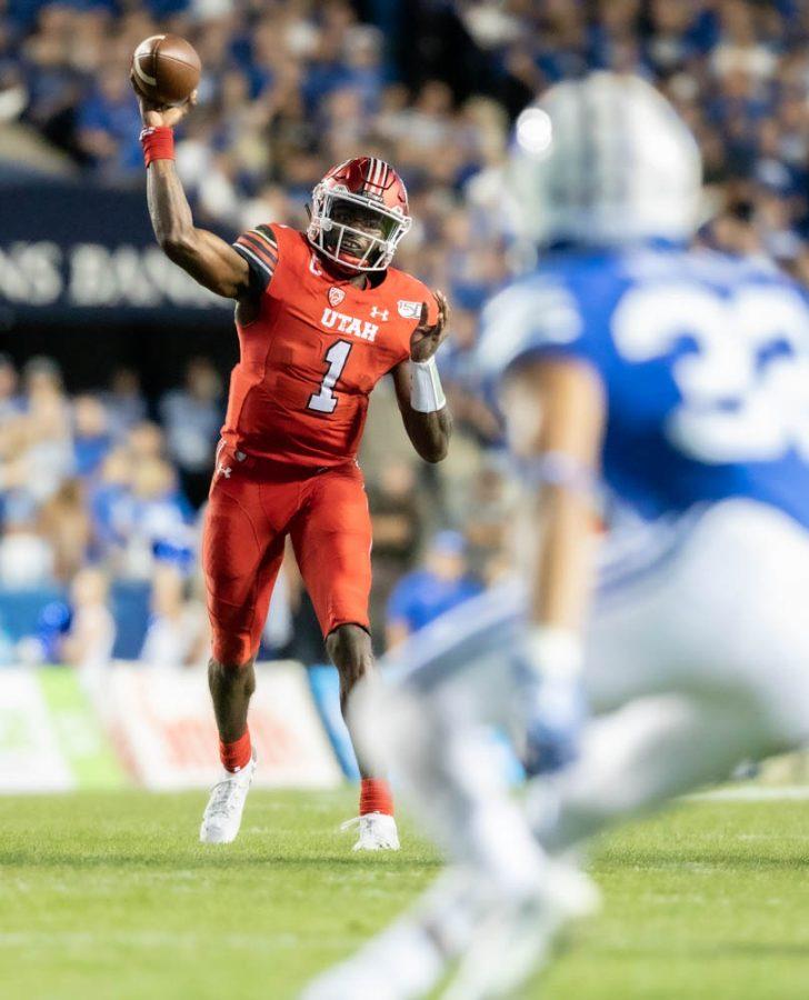 University of Utah senior quarterback Tyler Huntley (1) in an NCAA Football game vs. The BYU Cougars in Rice Eccles Stadium in Salt Lake City, Utah on Thursday, Aug. 29, 2019  (Photo by xx | The Daily Utah Chronicle)