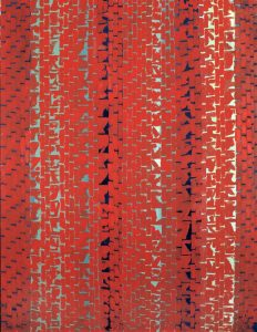 Alma Thomas,(American, 1891–1978) Red Sunset, Old Pond Concerto, 1972, acrylic on canvas, (68 1/2 x 52 1/4 in.) Smithsonian American Art Museum, gift of the Woodward Foundation, 1977.48.5