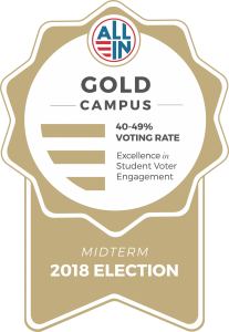 Gold Seal award. Courtesy of ALL IN Campus Democracy Challenge.