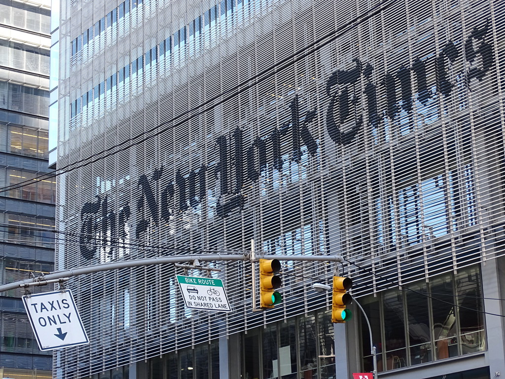 The New York Times Building in Manhattan. The New York Times has been a regular target of the Trump Administration. (Courtesy Flickr)
