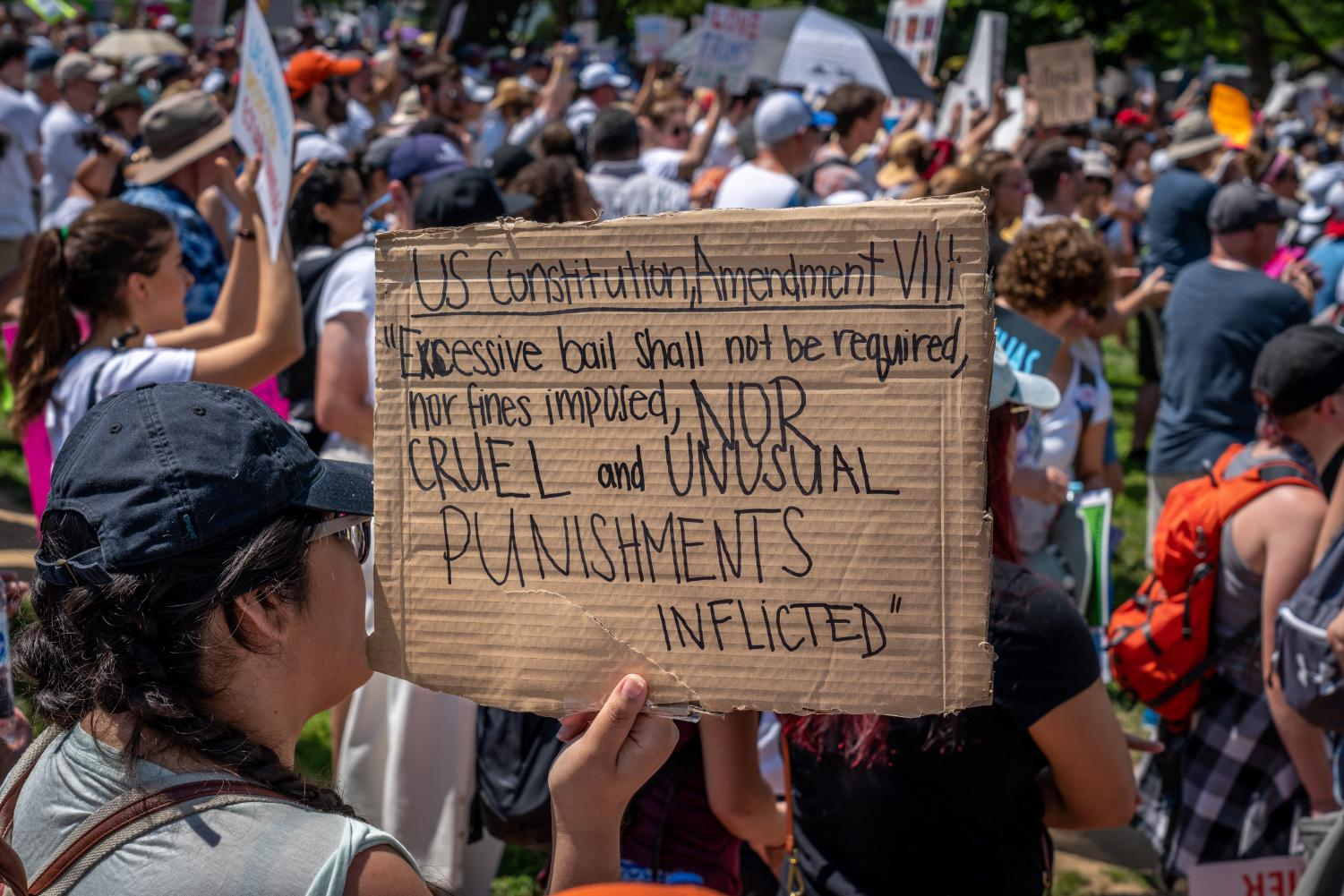 A protestor carries a sign quoting the 8th Amendment. (Courtesy Flickr)