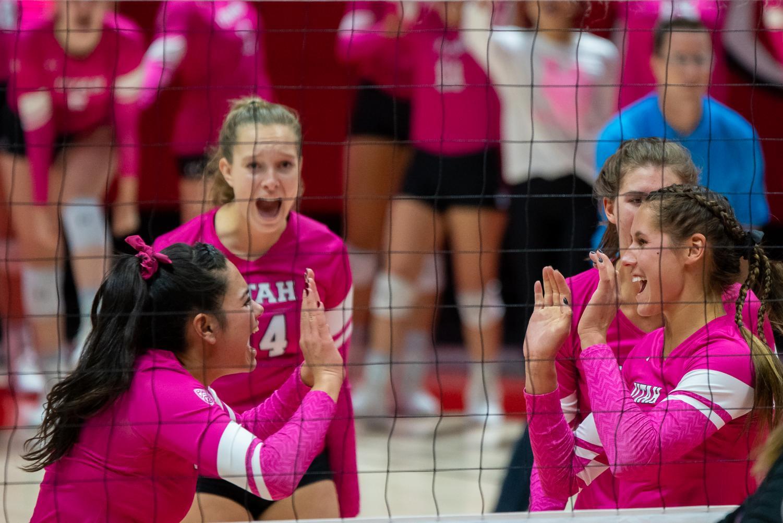 University of Utah Volleyball team celebrates their in an NCAA Volleyball match vs. The Washington Huskies at the Jon M. Huntsman Center in Salt Lake City, Utah on Friday, Oct. 25, 2019. (Photo by Abu Asib | The Daily Utah Chronicle)