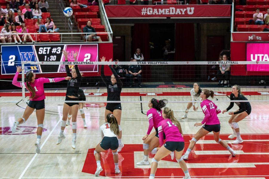 University of Utah Outside Hitter Dani Drews (1) goes for the kill in an NCAA Volleyball match vs. The Washington Huskies at the Jon M. Huntsman Center in Salt Lake City, Utah on Friday, Oct. 25, 2019. (Photo by Abu Asib | The Daily Utah Chronicle)
