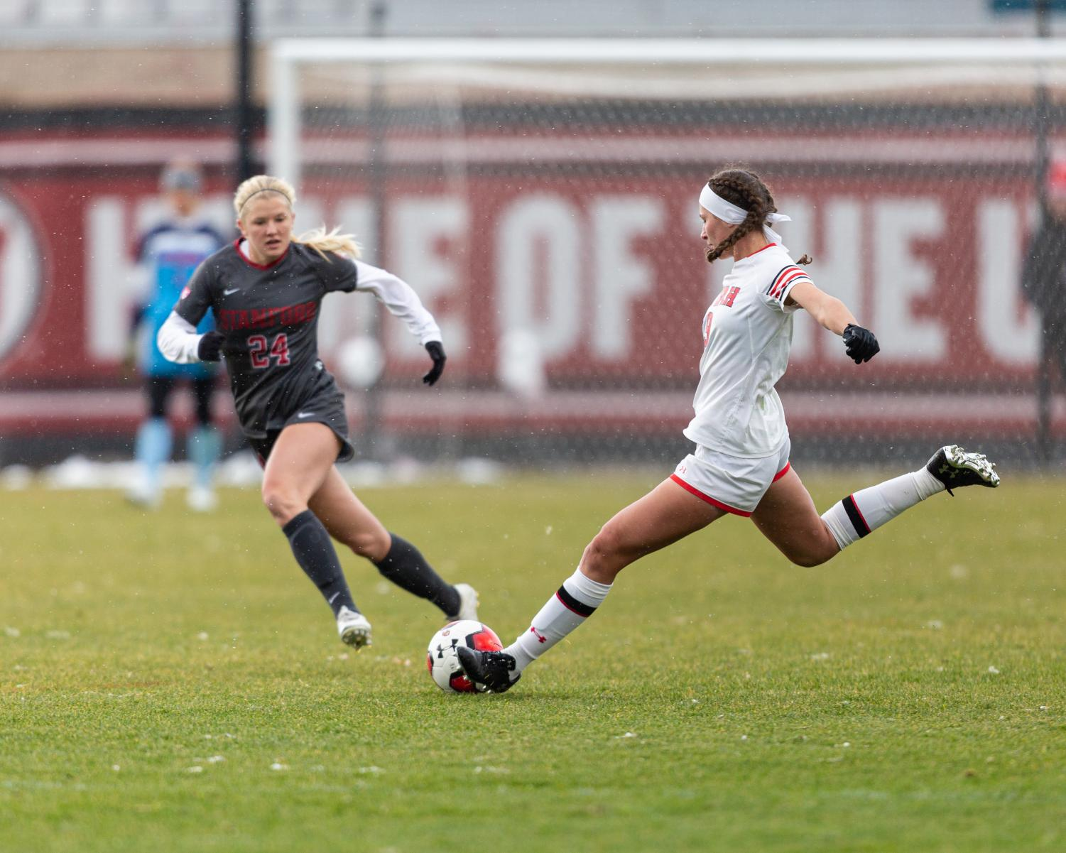 University of Utah Utes Women's soccer team defender Aleea Gwerder (9) gives a long-pass during an NCAA soccer match vs. the Stanford Cardinal women's soccer team at the Ute Soccer Field in Salt Lake City, Utah on Sunday, Oct. 27, 2019 (Photo by Abu Asib   The Daily Utah Chronicle)